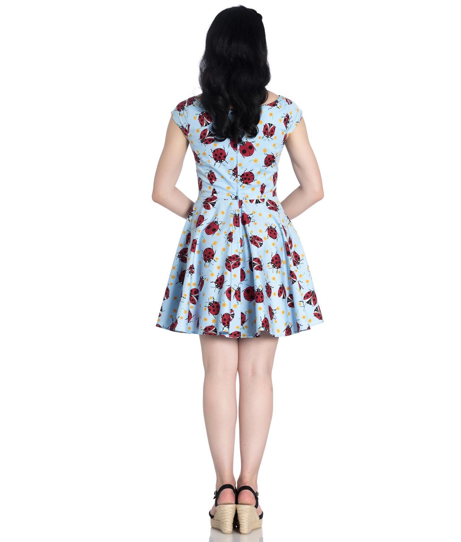 Hell-Bunny-Rockabilly-Mini-Dress-Blue-LILA-Ladybirds-Daisy-All-Sizes thumbnail 21