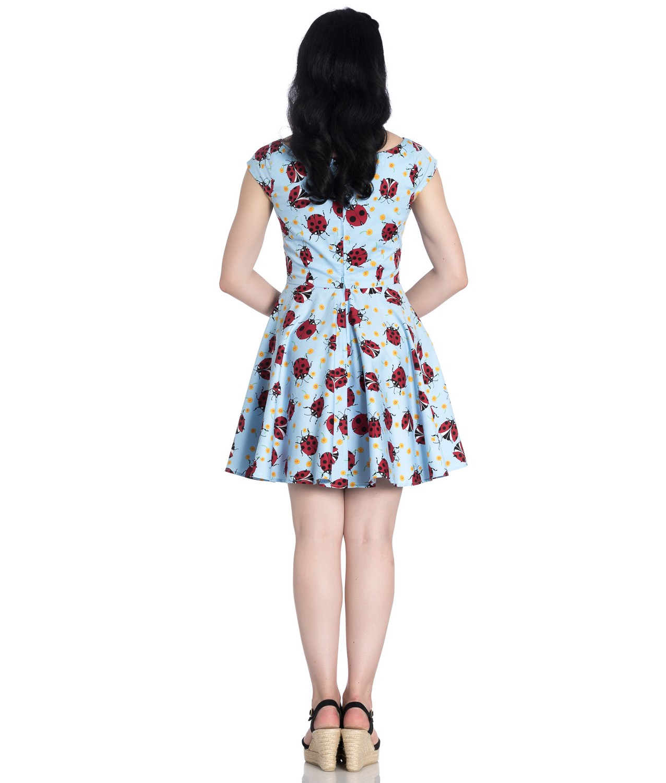 Hell-Bunny-Rockabilly-Mini-Dress-Blue-LILA-Ladybirds-Daisy-All-Sizes thumbnail 13