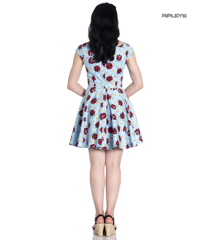Hell-Bunny-Rockabilly-Mini-Dress-Blue-LILA-Ladybirds-Daisy-All-Sizes thumbnail 8