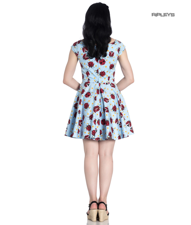 Hell-Bunny-Rockabilly-Mini-Dress-Blue-LILA-Ladybirds-Daisy-All-Sizes thumbnail 4