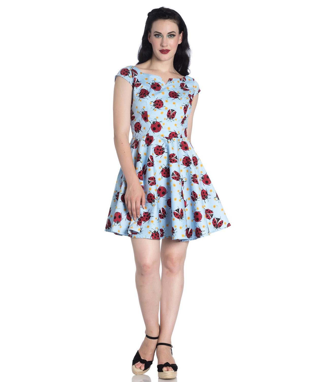 Hell-Bunny-Rockabilly-Mini-Dress-Blue-LILA-Ladybirds-Daisy-All-Sizes thumbnail 3