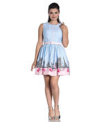Hell Bunny 50s Vintage Blue Polka Dot PANAME Mini Dress Paris All Sizes Thumbnail 2