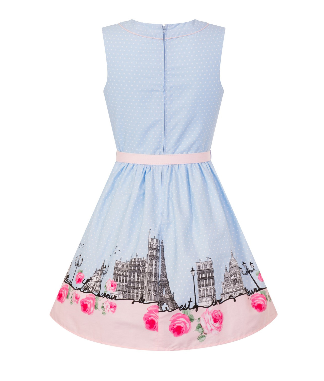 Hell-Bunny-50s-Vintage-Blue-Polka-Dot-PANAME-Mini-Dress-Paris-All-Sizes thumbnail 13
