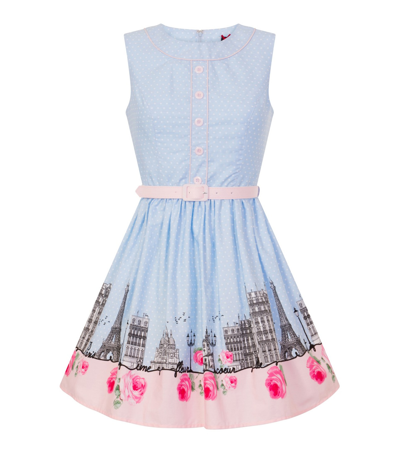 Hell-Bunny-50s-Vintage-Blue-Polka-Dot-PANAME-Mini-Dress-Paris-All-Sizes thumbnail 35