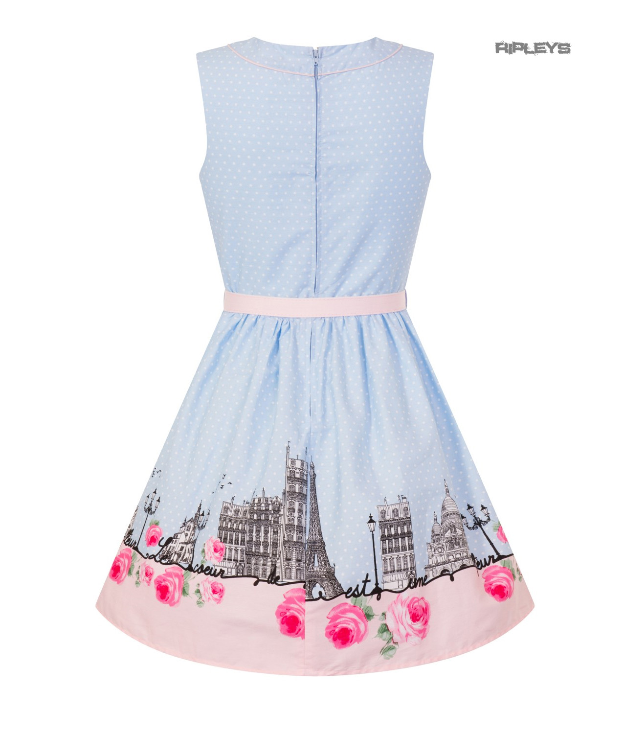 Hell-Bunny-50s-Vintage-Blue-Polka-Dot-PANAME-Mini-Dress-Paris-All-Sizes thumbnail 36