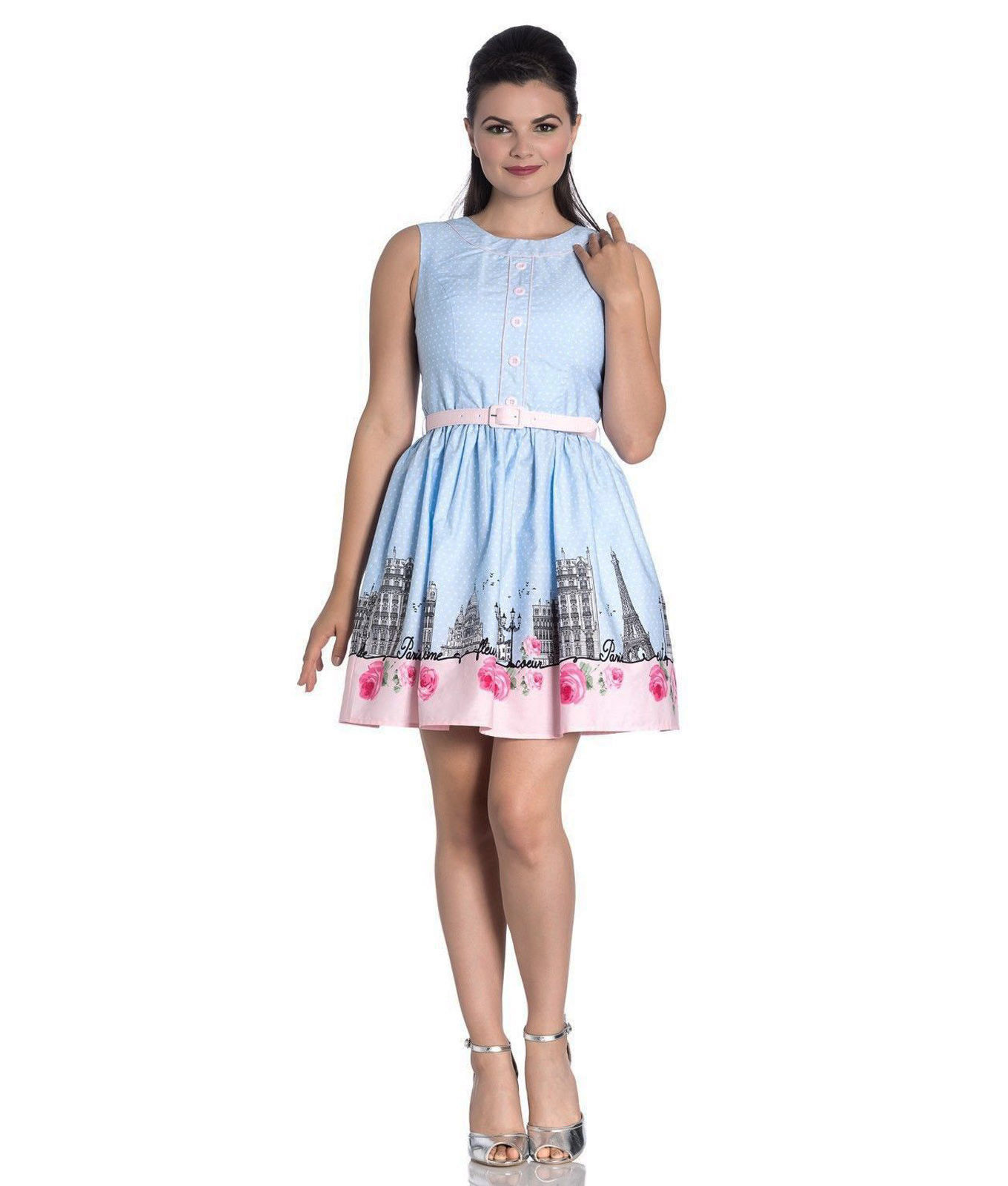 Hell-Bunny-50s-Vintage-Blue-Polka-Dot-PANAME-Mini-Dress-Paris-All-Sizes thumbnail 33