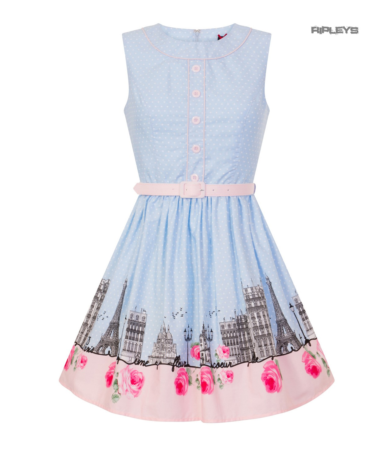 Hell-Bunny-50s-Vintage-Blue-Polka-Dot-PANAME-Mini-Dress-Paris-All-Sizes thumbnail 34