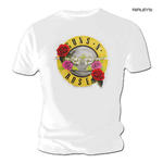 Official T Shirt GUNS N ROSES Pink Red Roses Classic BULLET White All Sizes Thumbnail 1