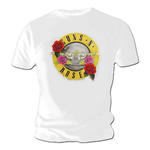 Official T Shirt GUNS N ROSES Pink Red Roses Classic BULLET White All Sizes Thumbnail 2