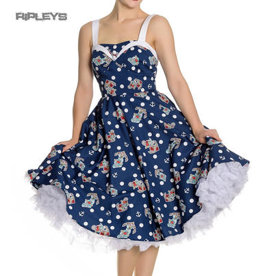 Hell Bunny 50s Nautical Blue & White Dress OCEANA Pin Up Rockabilly All Sizes
