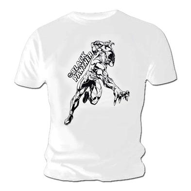 Official Unisex T Shirt Avengers THE BLACK PANTHER Marvel 'Comic' White