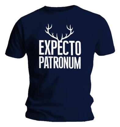 Official T Shirt HARRY POTTER  'Expecto Patronum' Spell Stag NAVY BLUE