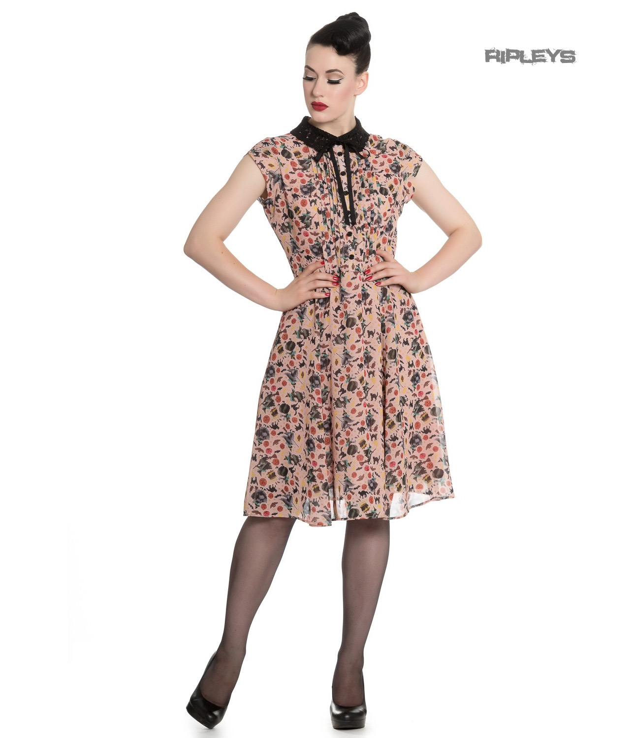 Hell-Bunny-Gothic-40s-50s-Beige-Dress-ZELDA-Witchy-Halloween-All-Sizes thumbnail 10