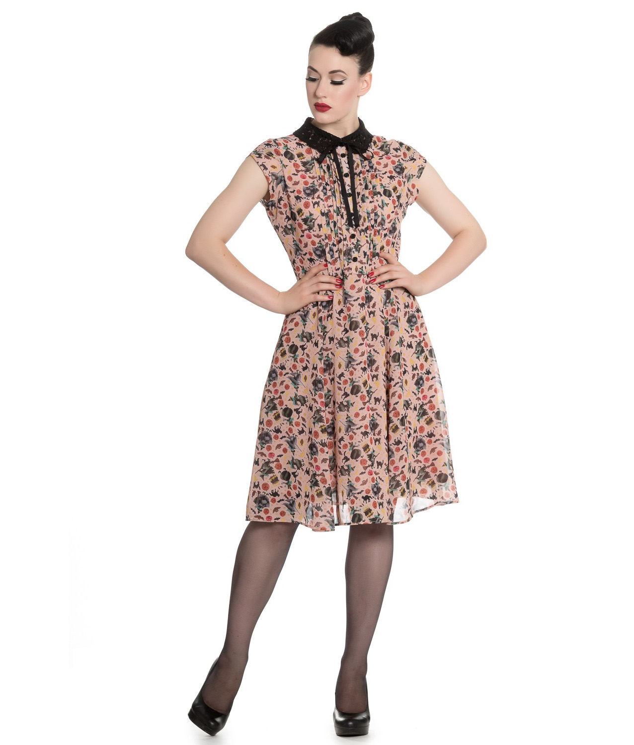 Hell-Bunny-Gothic-40s-50s-Beige-Dress-ZELDA-Witchy-Halloween-All-Sizes thumbnail 7