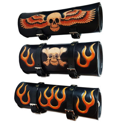 HT's 100% Handmade Genuine Leather TOOL ROLL Bag Motorcycle Bike SKULLS