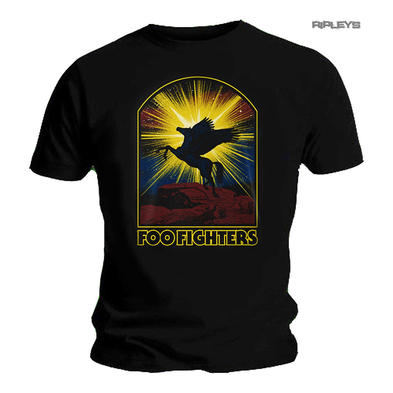 Official Black T Shirt FOO FIGHTERS Concrete & Gold 'Winged Horse' All Sizes