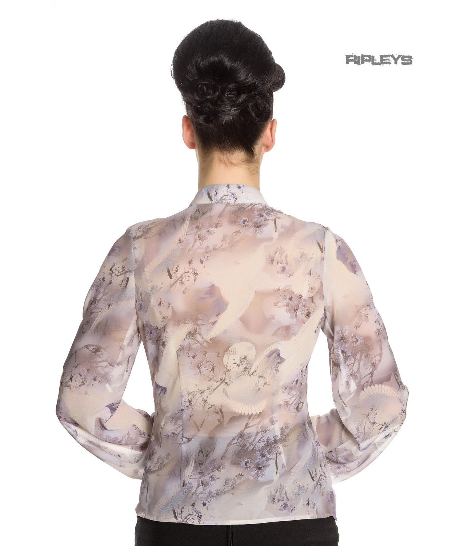 Hell-Bunny-Elegant-Shirt-Ruffle-Top-SKYE-Blouse-Cream-Ivory-Chiffon-All-Sizes thumbnail 12