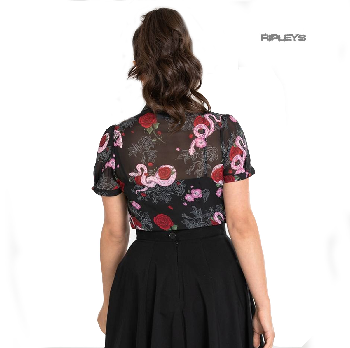Hell-Bunny-Shirt-Gothic-Black-Top-MEDUSA-Blouse-Snakes-amp-Roses-All-Sizes thumbnail 4