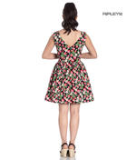 Hell Bunny 50s Vintage Black Mini STRAWBERRY SUNDAE Dress Flowers All Sizes Thumbnail 3