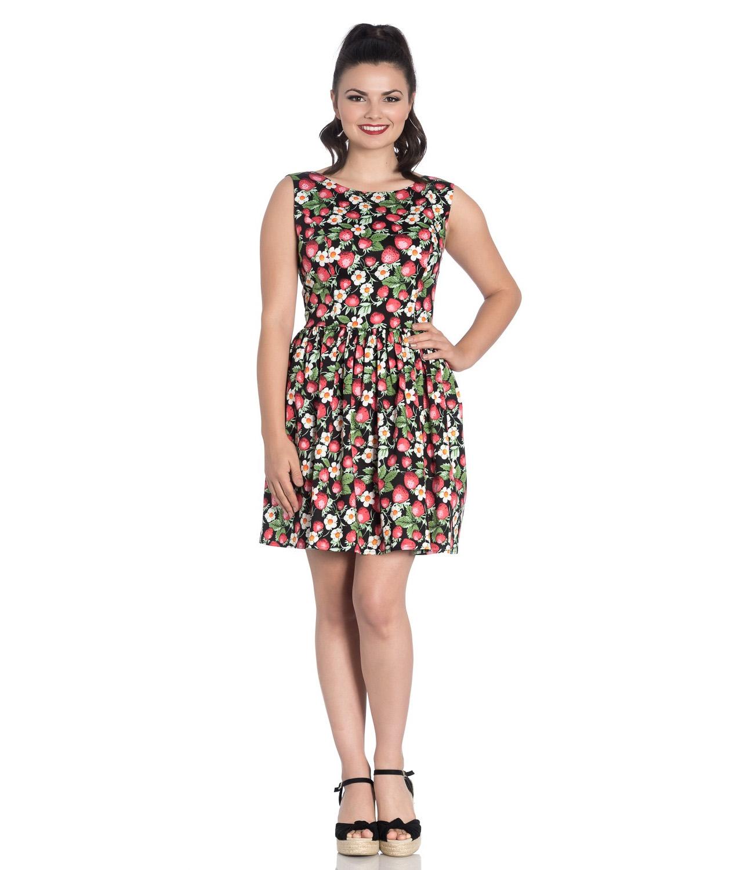 Hell-Bunny-50s-Vintage-Black-Mini-STRAWBERRY-SUNDAE-Dress-Flowers-All-Sizes thumbnail 3