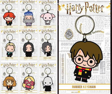 Official HARRY POTTER Rubber Keychain Keyring Novelty Gift CHIBI Characters