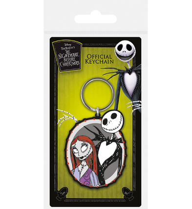 Official Nightmare Before Christmas Rubber Keychain Keyring Gift JACK & SALLY