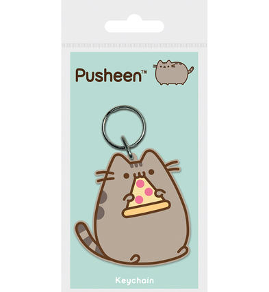 Official PUSHEEN The Cat Emoji Rubber Keyring Keychain Novelty Gift PIZZA