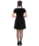 Hell Bunny Gothic Mini Skater Dress FULL MOON Bats Black Velvet All Sizes Thumbnail 4