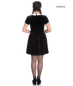 Hell Bunny Gothic Mini Skater Dress MISS MUFFET Spiders Black Velvet All Sizes Thumbnail 3