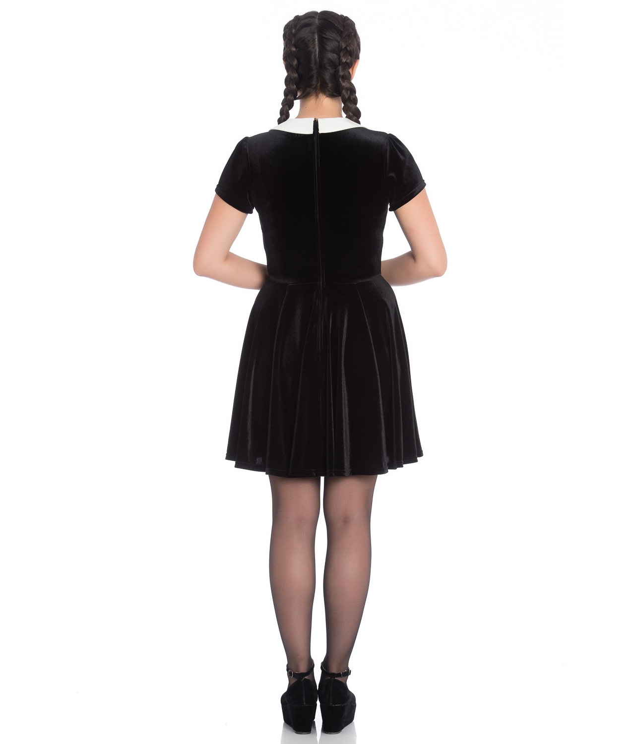 Hell-Bunny-Gothic-Mini-Skater-Dress-MISS-MUFFET-Spiders-Black-Velvet-All-Sizes thumbnail 5