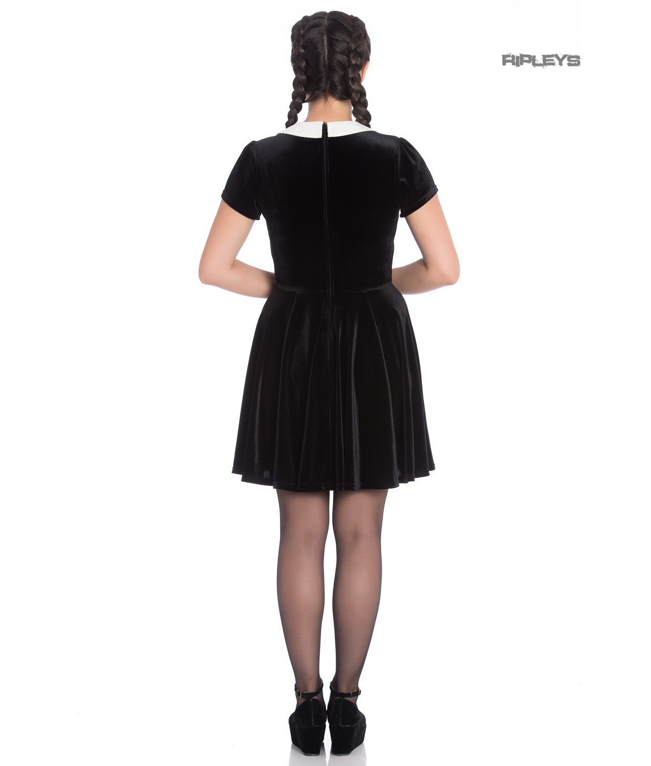 Hell-Bunny-Gothic-Mini-Skater-Dress-MISS-MUFFET-Spiders-Black-Velvet-All-Sizes thumbnail 4