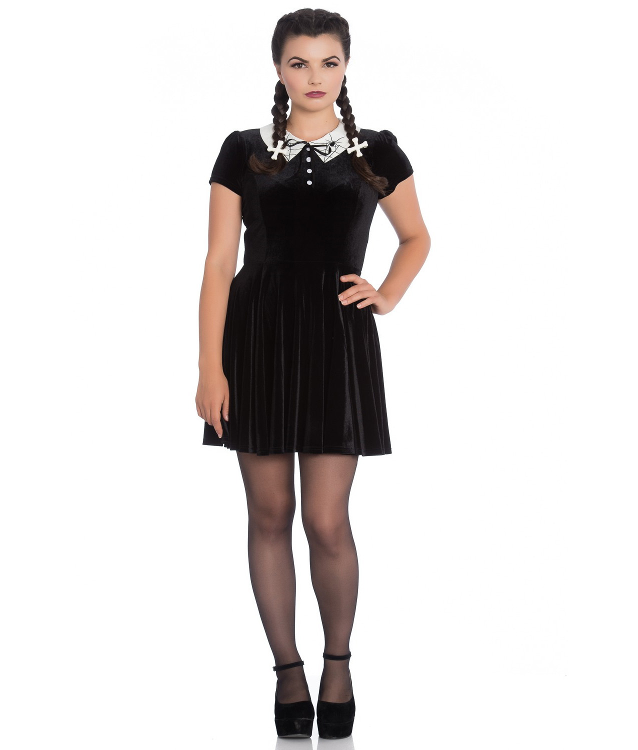 Hell-Bunny-Gothic-Mini-Skater-Dress-MISS-MUFFET-Spiders-Black-Velvet-All-Sizes thumbnail 3
