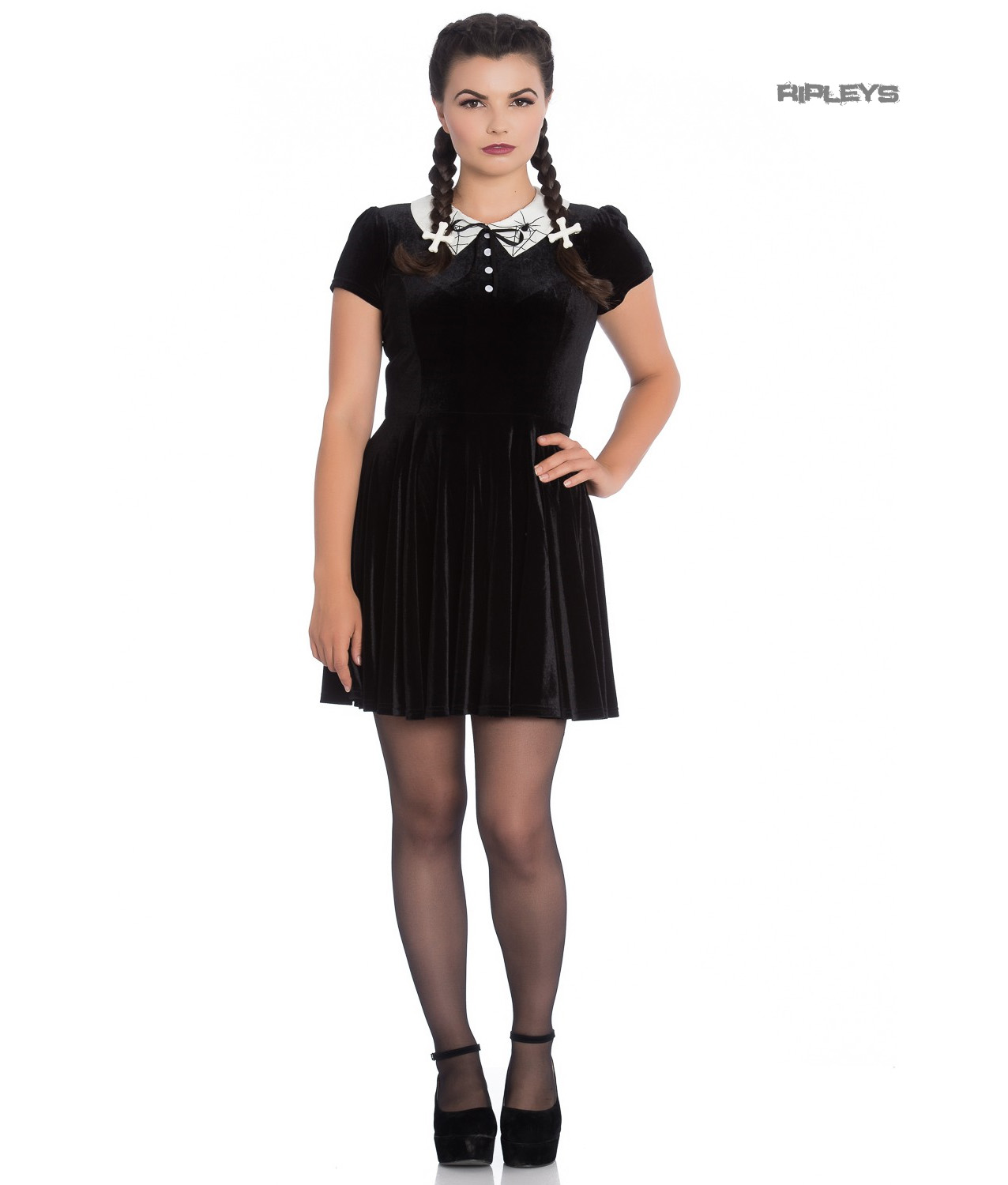 Hell-Bunny-Gothic-Mini-Skater-Dress-MISS-MUFFET-Spiders-Black-Velvet-All-Sizes thumbnail 10