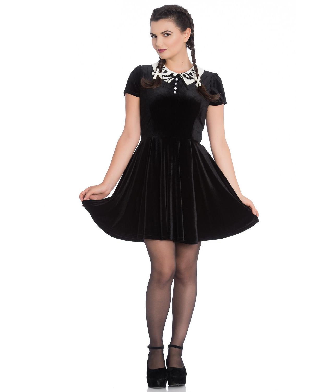 Hell-Bunny-Gothic-Mini-Skater-Dress-FULL-MOON-Bats-Black-Velvet-All-Sizes thumbnail 3