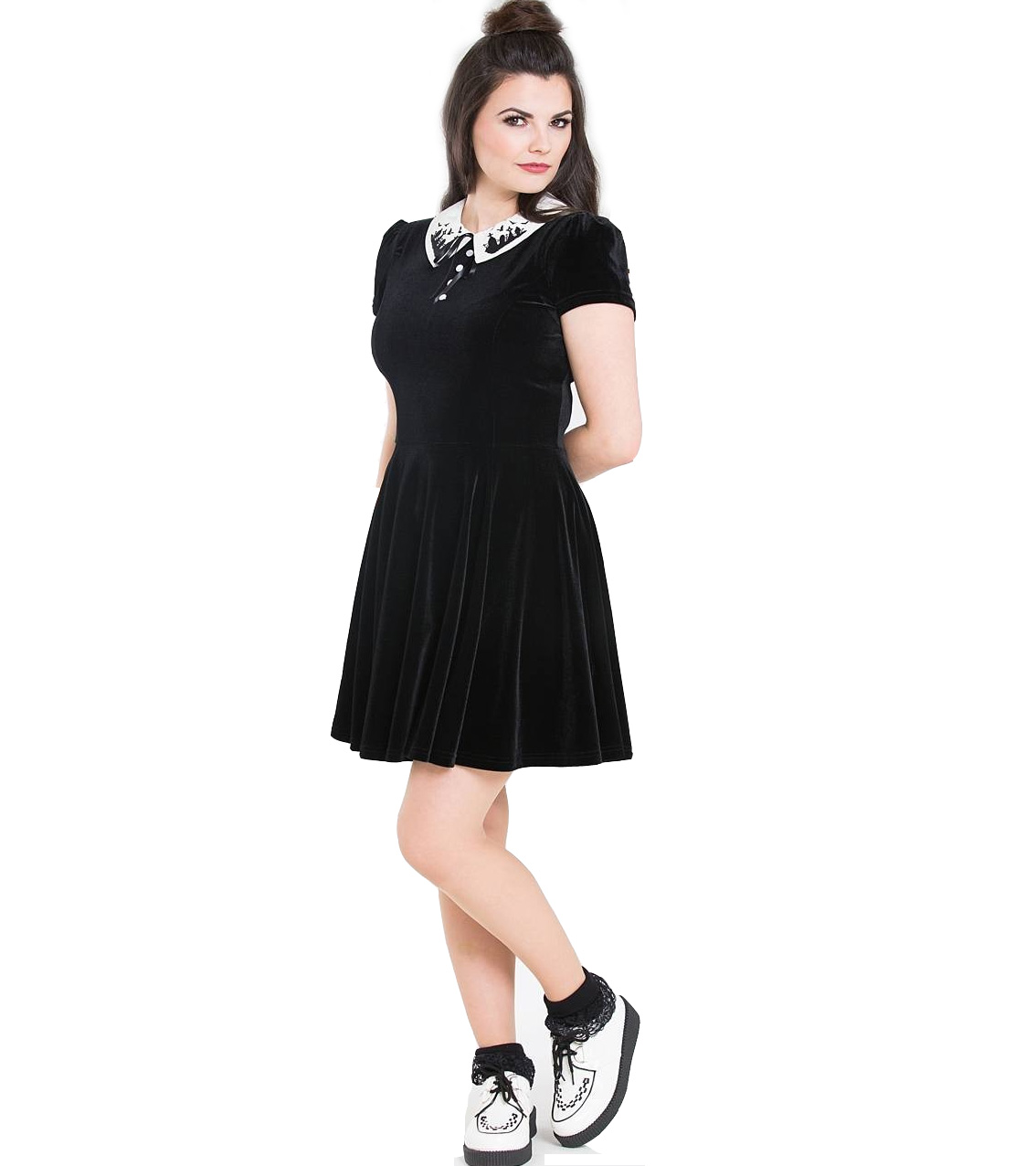 Hell-Bunny-Gothic-Mini-Skater-Dress-GRAVEYARD-Bats-Black-Velvet-All-Sizes thumbnail 15