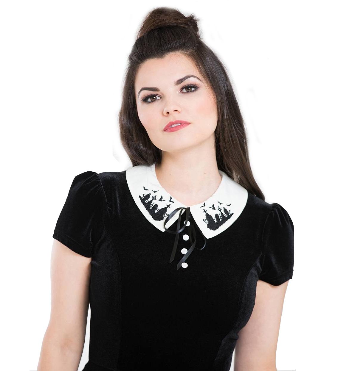 Hell-Bunny-Gothic-Mini-Skater-Dress-GRAVEYARD-Bats-Black-Velvet-All-Sizes thumbnail 5