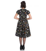 Hell Bunny 50s Black Pin Up Dress Horror Witchy SALEM Halloween All Sizes Thumbnail 6
