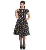 Hell Bunny 50s Black Pin Up Dress Horror Witchy SALEM Halloween All Sizes Thumbnail 2
