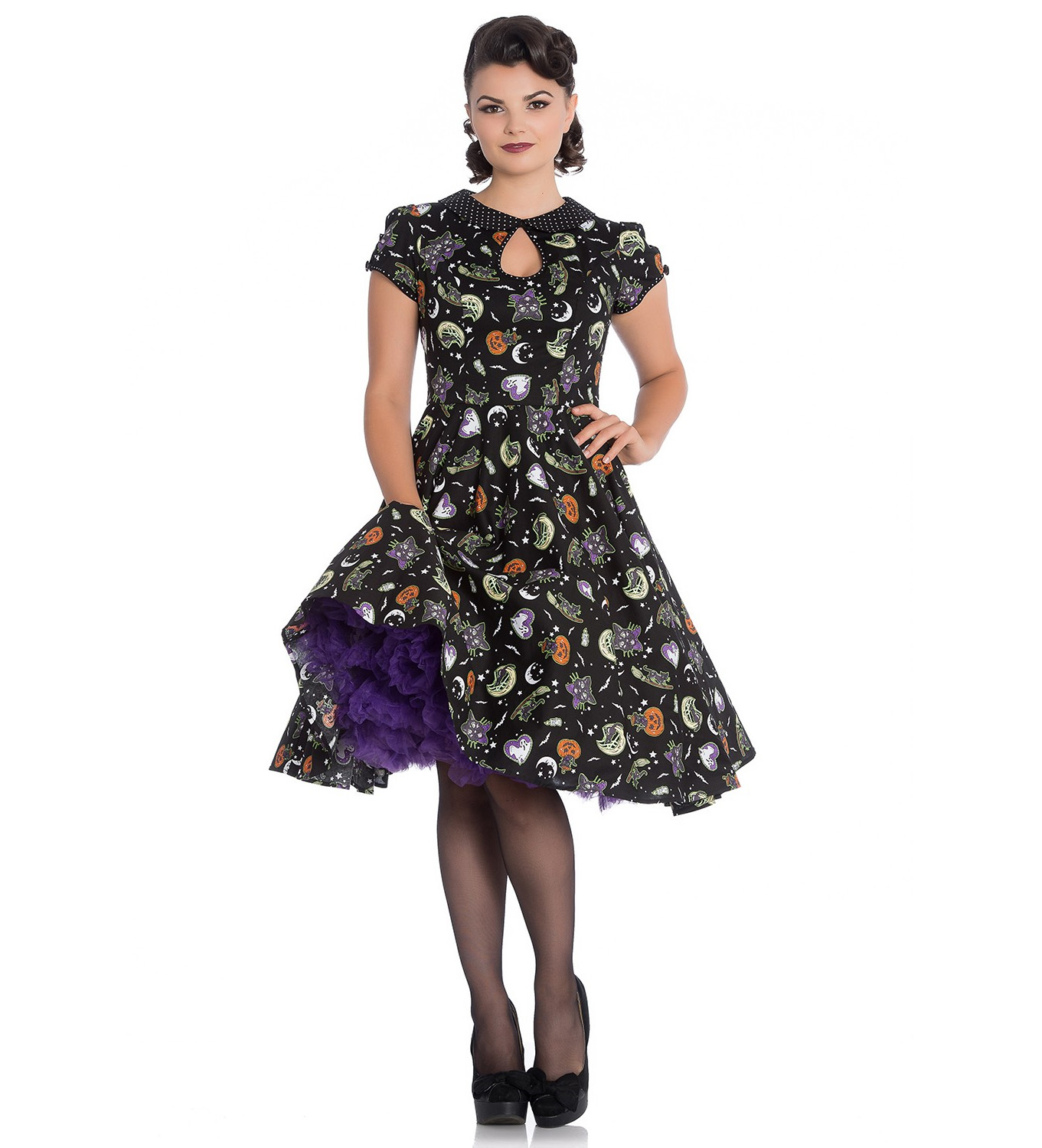 Hell-Bunny-50s-Black-Pin-Up-Dress-Horror-Witchy-SALEM-Halloween-All-Sizes thumbnail 17