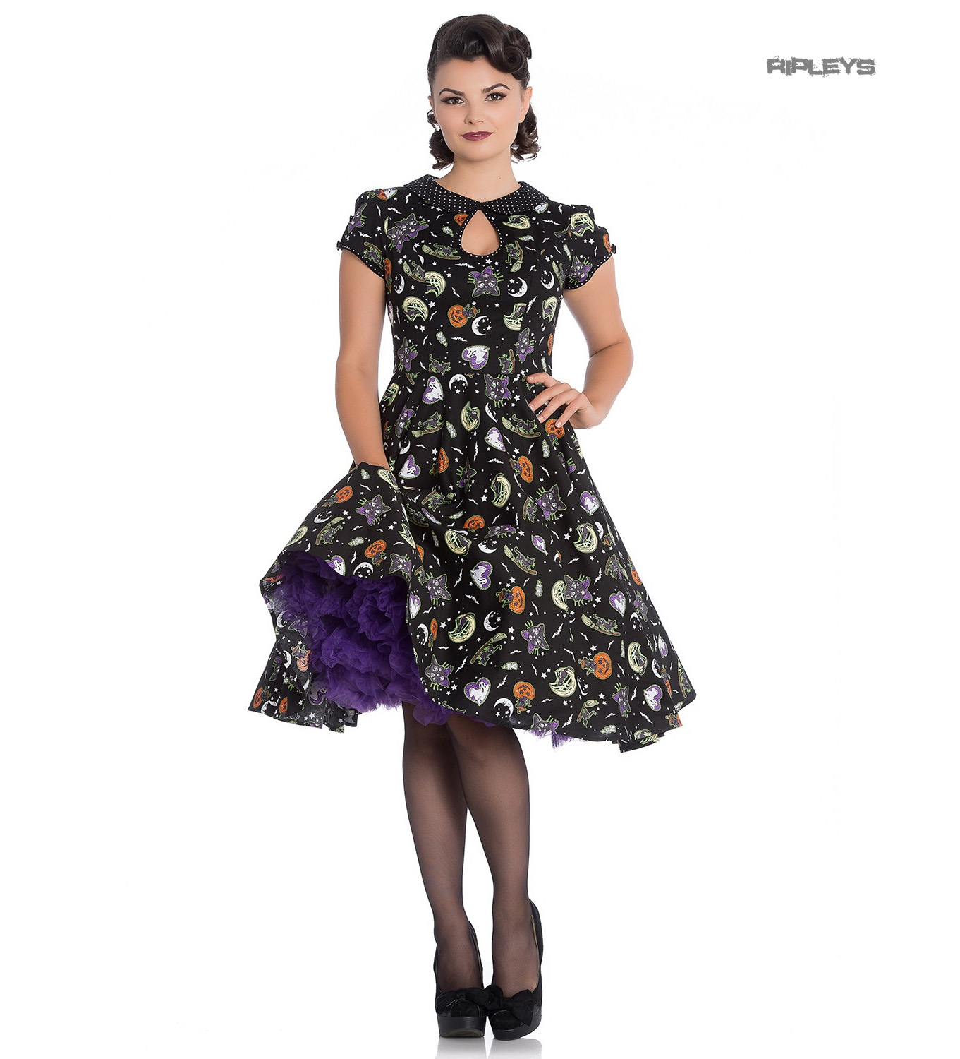 Hell-Bunny-50s-Black-Pin-Up-Dress-Horror-Witchy-SALEM-Halloween-All-Sizes thumbnail 4