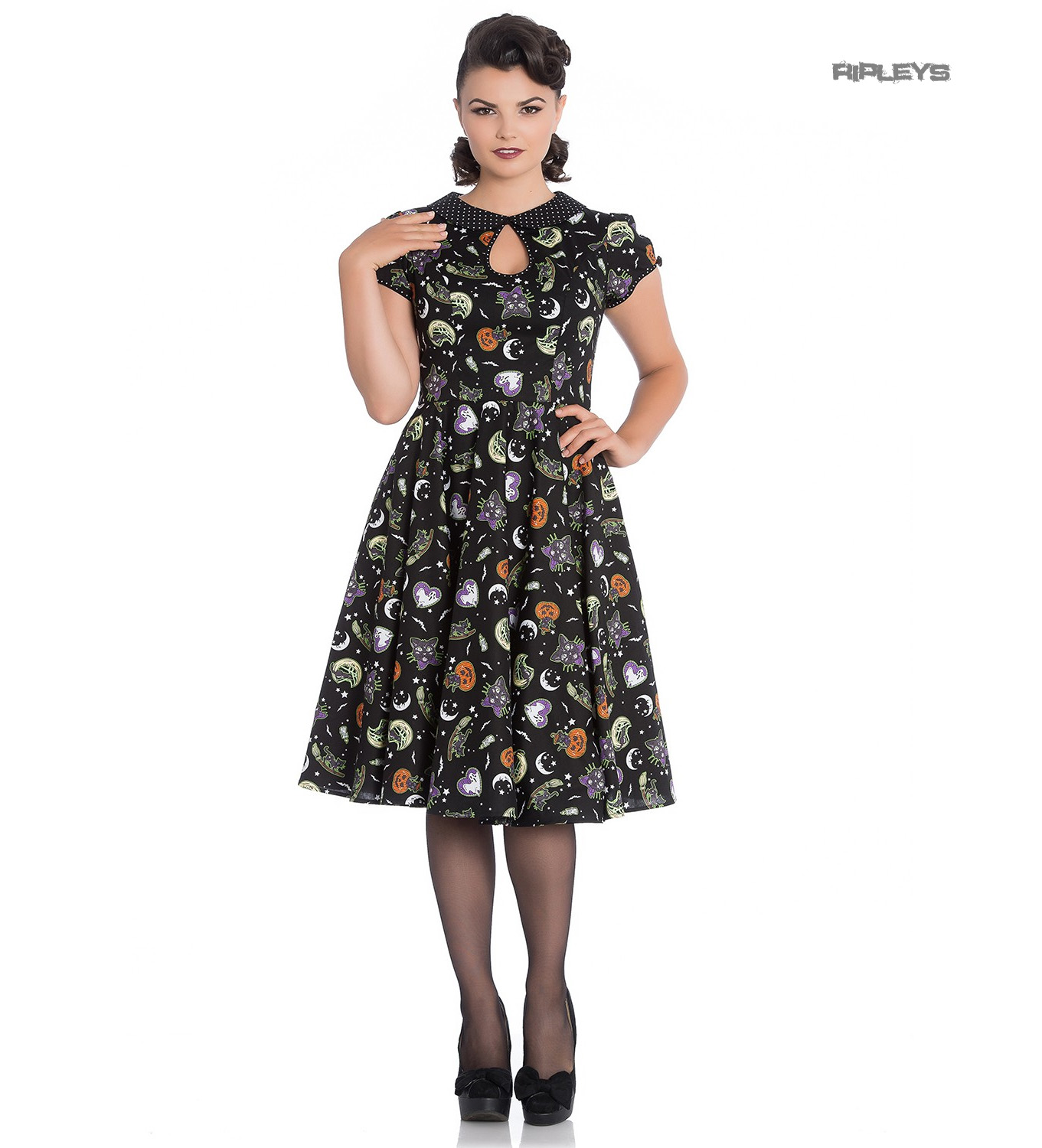 Hell-Bunny-50s-Black-Pin-Up-Dress-Horror-Witchy-SALEM-Halloween-All-Sizes thumbnail 2