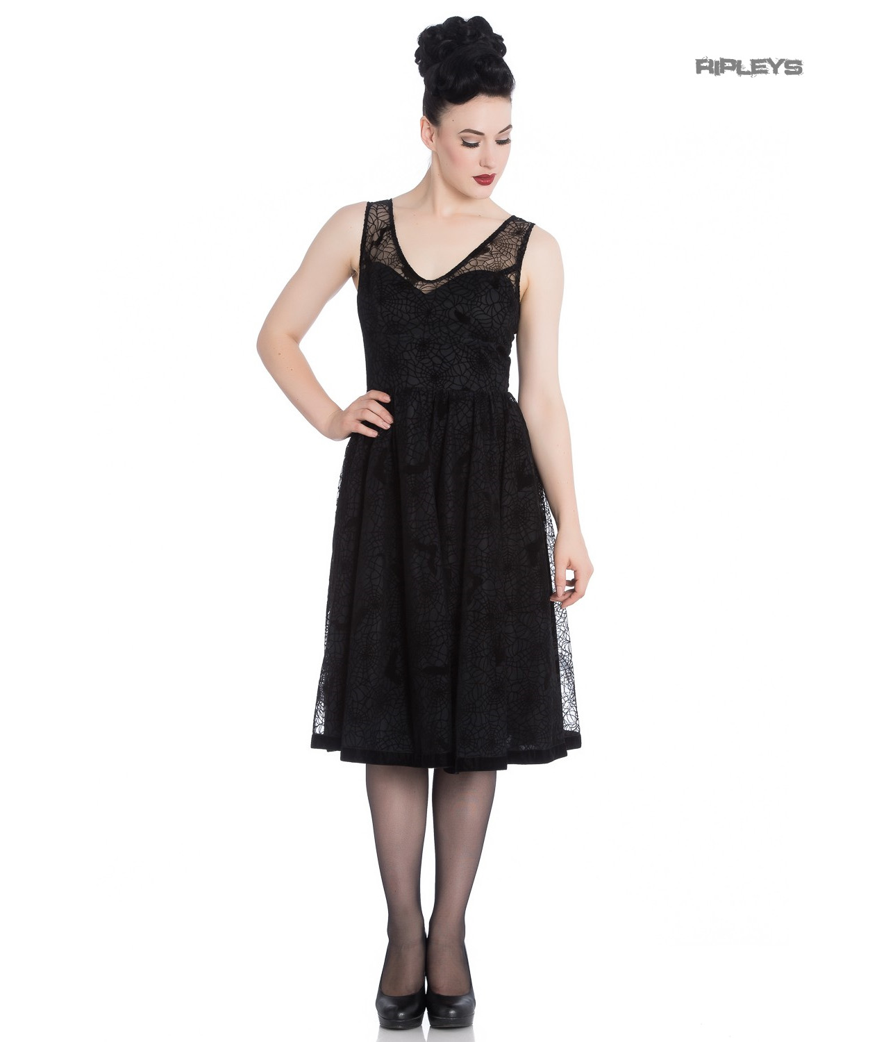 Hell-Bunny-50s-Black-Gothic-Net-Dress-Witchy-AMARANDE-Spiders-Bats-All-Sizes thumbnail 14