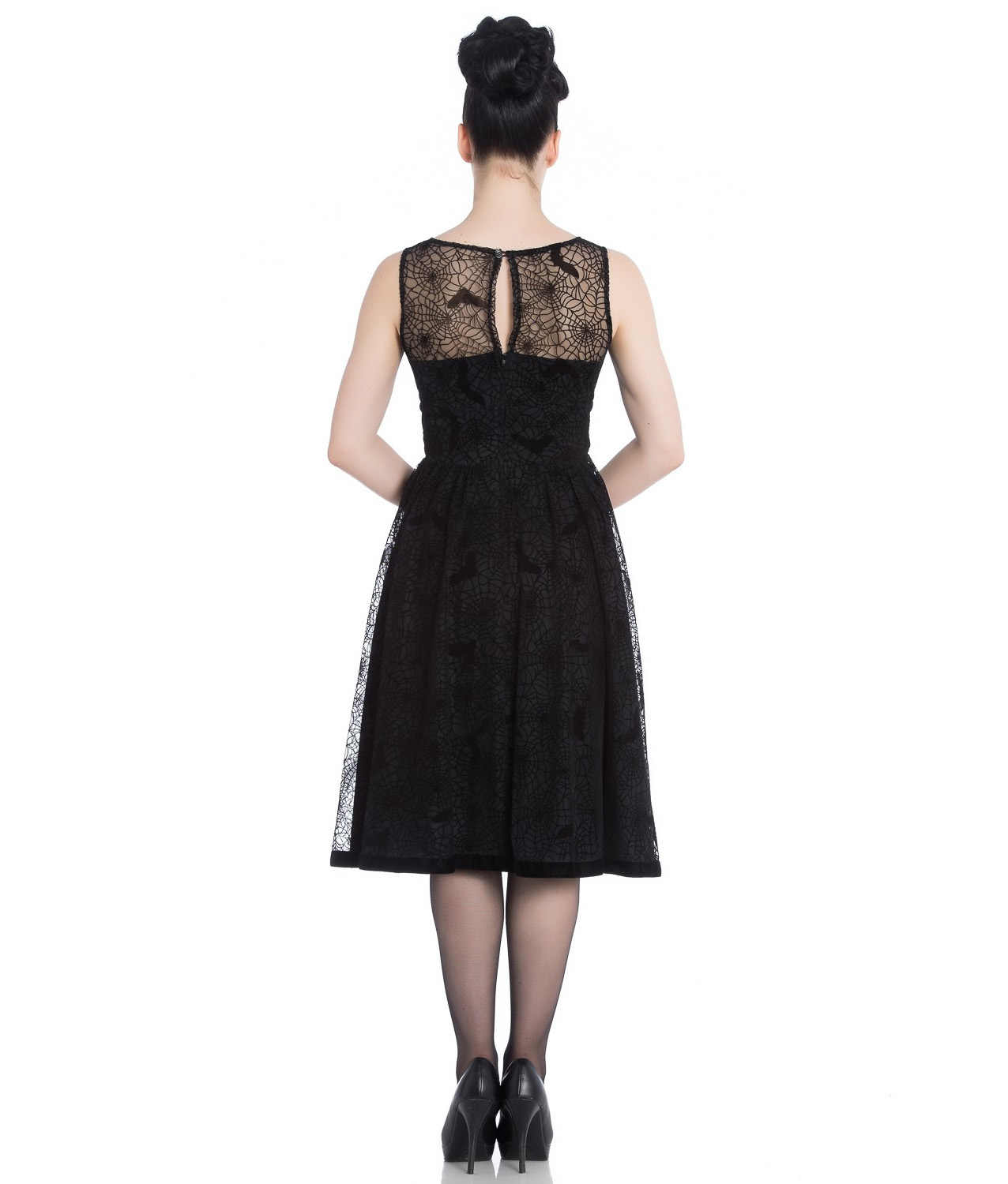 Hell-Bunny-50s-Black-Gothic-Net-Dress-Witchy-AMARANDE-Spiders-Bats-All-Sizes thumbnail 5