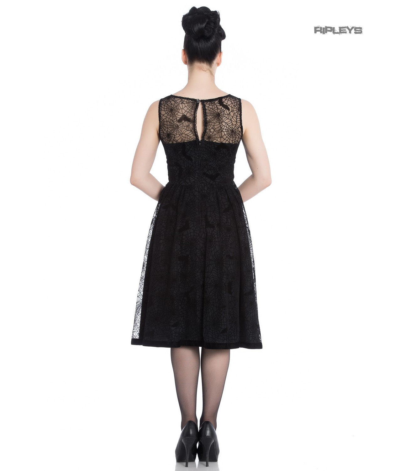 Hell-Bunny-50s-Black-Gothic-Net-Dress-Witchy-AMARANDE-Spiders-Bats-All-Sizes thumbnail 4