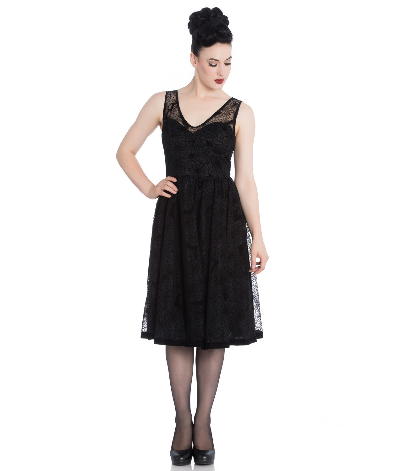Hell-Bunny-50s-Black-Gothic-Net-Dress-Witchy-AMARANDE-Spiders-Bats-All-Sizes thumbnail 3