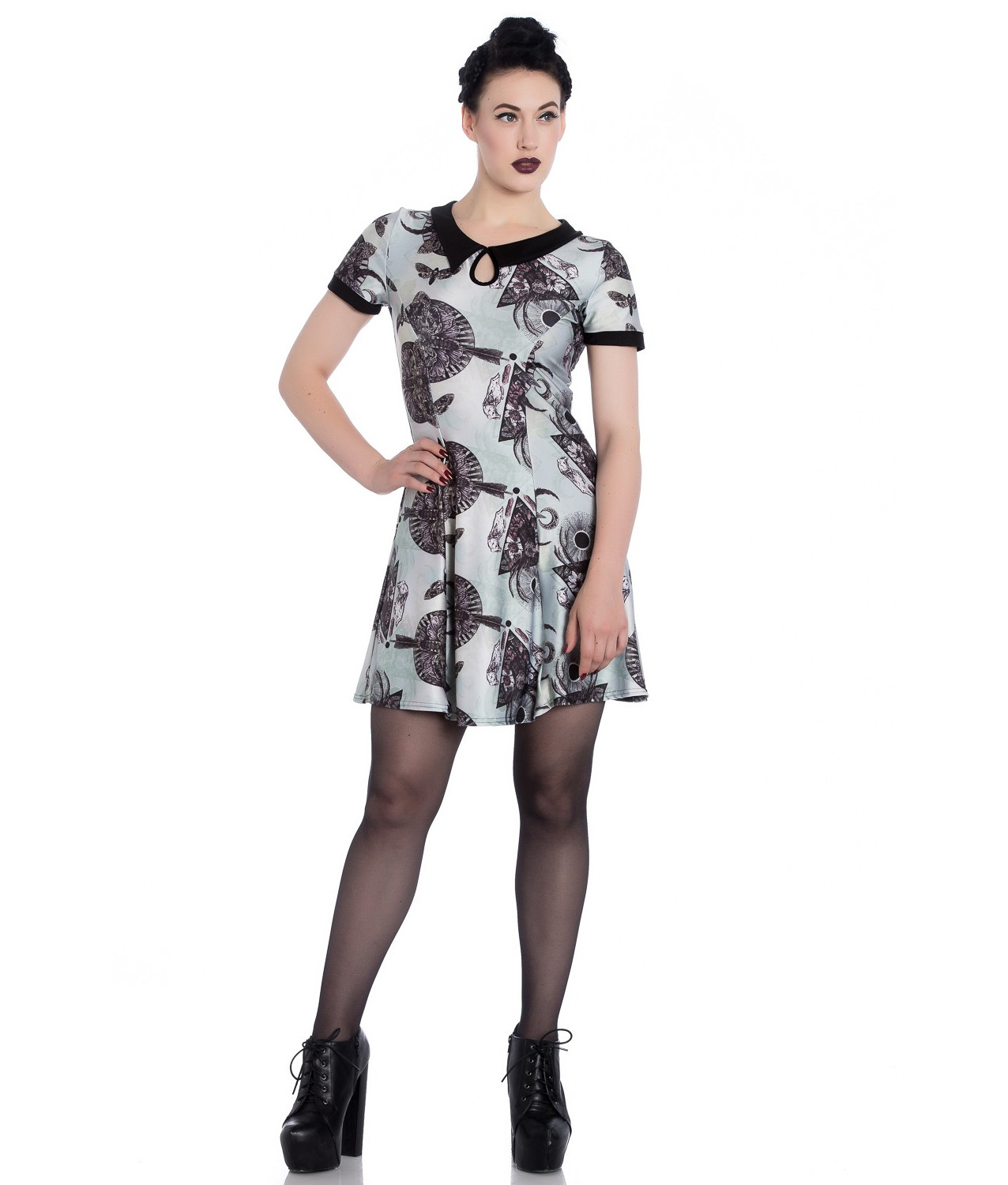 Hell-Bunny-Alchemy-Gothic-Mini-Dress-Green-LAVANA-After-Death-All-Sizes thumbnail 3