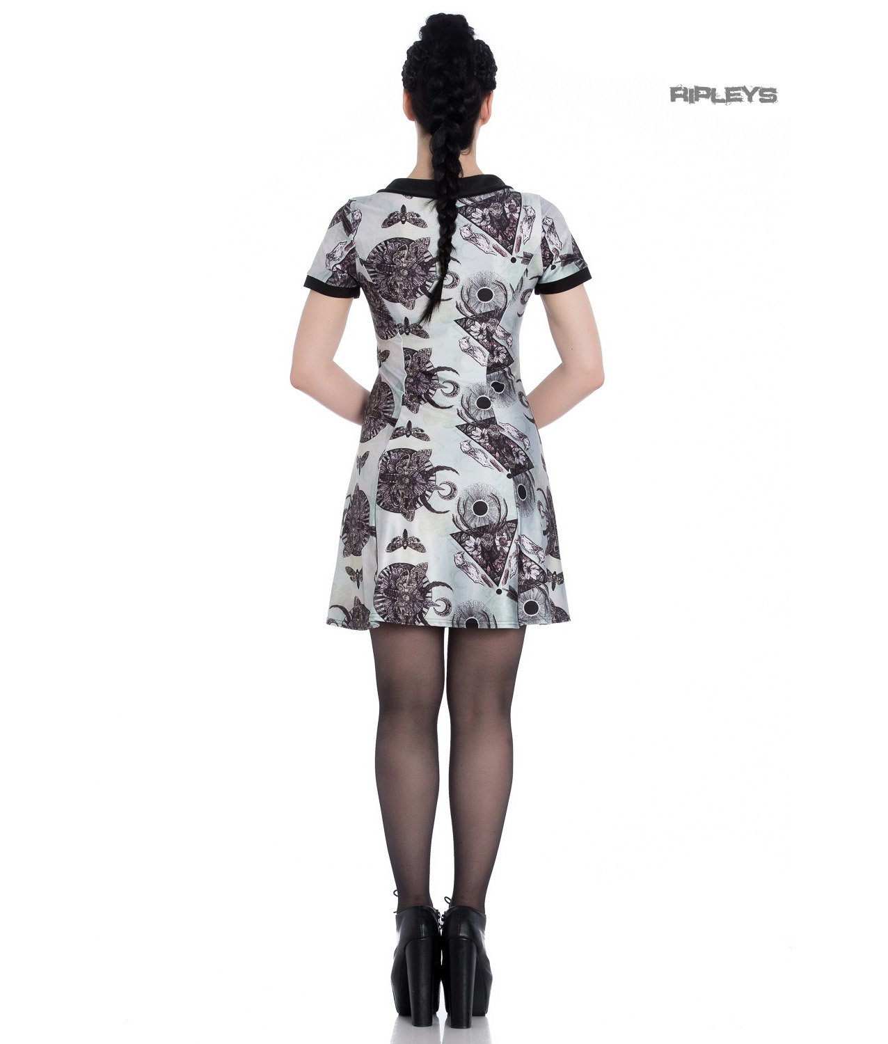 Hell-Bunny-Alchemy-Gothic-Mini-Dress-Green-LAVANA-After-Death-All-Sizes thumbnail 20