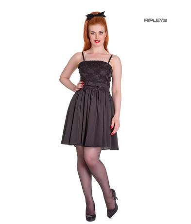 Hell Bunny Summer Prom 50s Mini Dress MARVELETTE Black Flowers All Sizes Preview