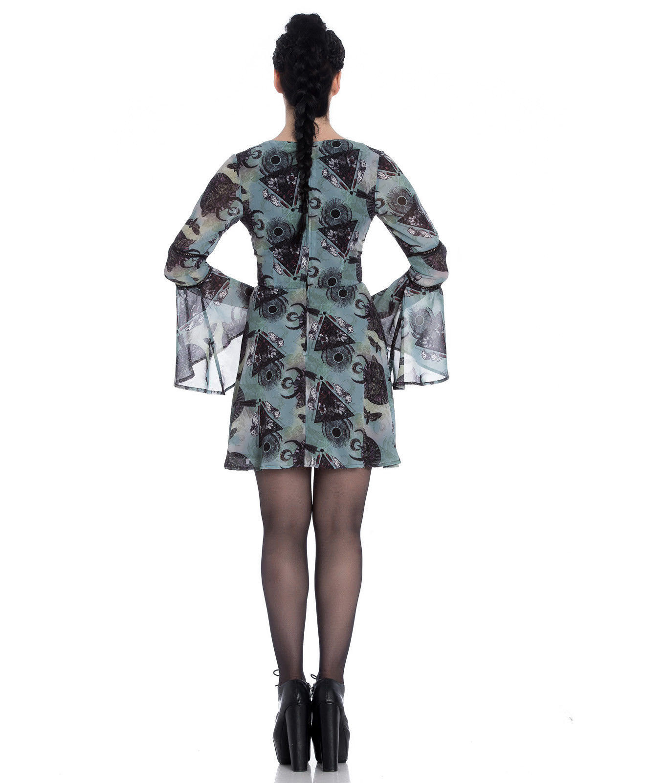 Hell-Bunny-Alchemy-Goth-Floaty-Witch-Mini-Dress-AFTER-DEATH-Teal-Green-All-Sizes thumbnail 13