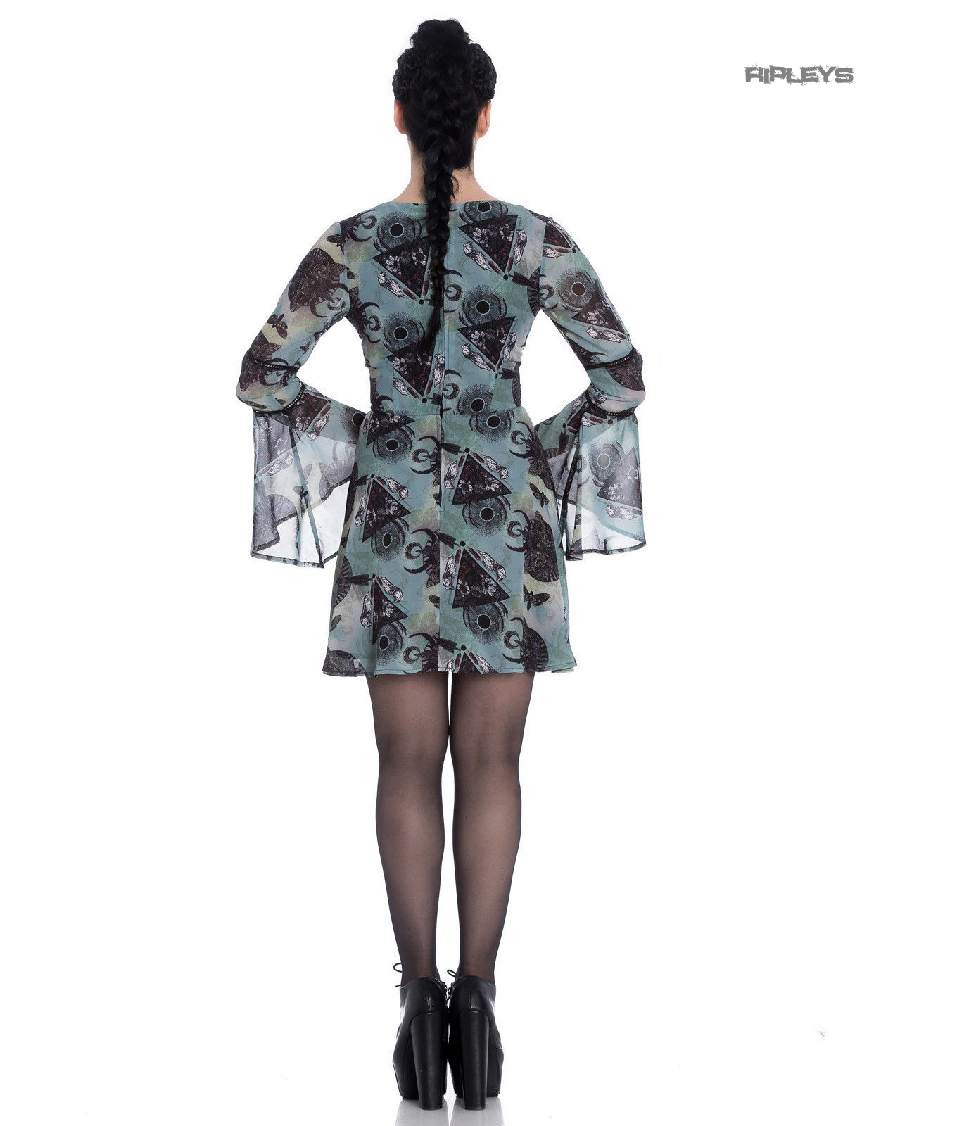 Hell-Bunny-Alchemy-Goth-Floaty-Witch-Mini-Dress-AFTER-DEATH-Teal-Green-All-Sizes thumbnail 20